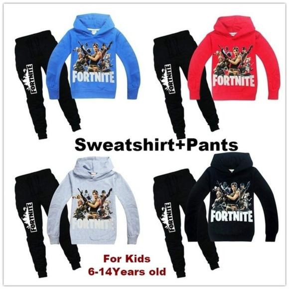 Kids Fortnite Sweatshirt Hoodie and Pants NWT